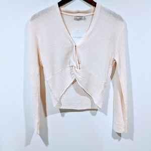 NWT Thanne Twist Front Cropped Wool Top